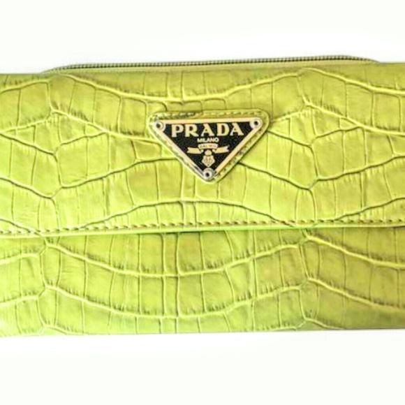 3ff28f777cfb Prada vintage lime Green crocodile wallet. M_5c0ca556de6f622ca8b13ae9